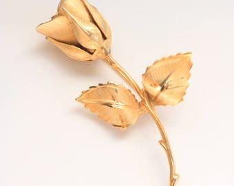 Vintage Flower Brooch - Gold Rose Brooch - Gold Metal Brooch - Vintage Rose Brooch