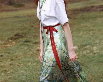 Fine Art collection Van Gogh painting floral  designed floral painting top/skirt