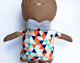 Phillip the Geek Cat - rag doll - Stuffed animal - Cloth cat - Soft toy