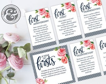 A Year of Firsts - Wine Basket Milestone Tags INSTANT DOWNLOAD (for 12 bottle basket) - Wedding Gift, Bridal Shower Gift