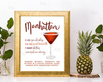 Manhattan Cocktail with Recipe - PRINTABLE Wall Art / Cocktails Mixed Drinks Wall Art / Hand Drawn Cocktails / Cocktails Prints / 2 Prints