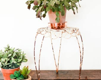 Vintage Metal Plant Stand, Plant Stand Indoor, Rusty Metal Plant Stand, Industrial Side Table, Farmhouse Plantstand, Loft Style Plant Stand
