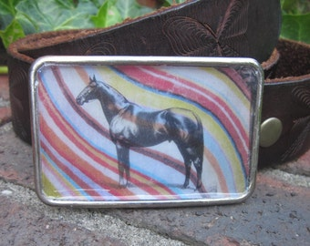 Man O' War legendary thoroughbred horse large silver Belt Buckle bohemian belt buckle mens belt buckle women's belt buckle retro hippie chic