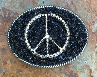 peace belt buckle mens belt buckle embellished belt buckle women's belt buckle bohemian black stone beaded Belt Buckle boho hippie chic