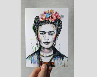 Frida Kahlo - Small Art Print Greetings Card - Mexican Woman Artist - Occasion Postcard