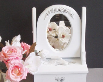 White Mirror and Tissue Box Holder, Tilt / Vanity  / Tabletop Mirror, Upcycled, Shabby Cottage Chic, French Country