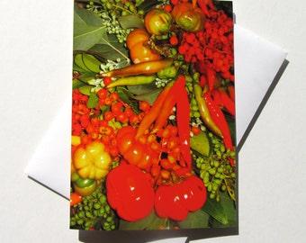 Fall Greeting Card - Thanksgiving Card - Seasonal Fall Card - Autumn Berries & Peppers Greeting Card