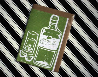 Gin - Original Linoprint G&T Greeting Card in Green - Blank with Vegan Envelope - 100% Recycled Paper Biodegradable Packaging