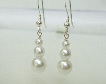 Pearl drop earrings Sterling Silver triple white or cream pearl wedding earrings, pearl bridal jewellery pearl bridesmaid jewellery gift