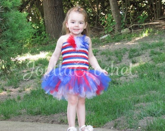 4th of July Tutu Dress, American Flag Tutu Dress, Fourth of July Tutu Dress, Red White and Blue Tutu Dress, July 4th Tutu JoellaCrochet