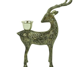 Vintage Silver Brass Deer Buck Stag with Antlers Horns Figurine Statue, Woodland, Cottage, Cabin Decor, Mid Century Christmas Holiday Decor