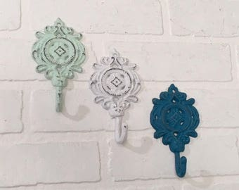 Decorative Hooks/Shabby Chic/Coat Hook/Nursery Hook/Mint/Towel Hook/Decorative Wall Hook/Cast Iron Decor/Ornate Wall Hook/