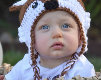Crochet Fox Hat Baby Girl Baby Boy Brown Fox Hat Newborn Fox  Beanie Fox Hat Fox Photo Prop Toddler Fox Hat