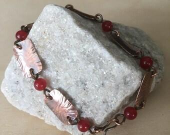 Women's copper bracelet - Red Jade bracelet - Square link bracelet - beaded design - link bracelet - handmade