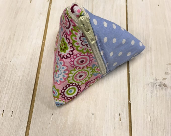 Handmade Pretty Pyramid Shaped Jewellery travel case, earring pouch, small purse