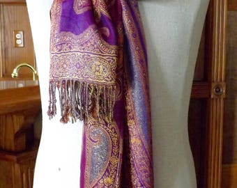 Long Scarf Purple Red Gold Orange Pink Collection Eighteen 80X22_Beautiful Long Scarf With Fringe Purple Red Gold