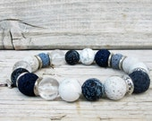 White and Blue Bracelet, Lava Stone Bracelet, Men's Beaded Bracelet, Energy Bracelet, Anchor Bracelet, Mala Yoga Bracelet, Nautical Jewelry