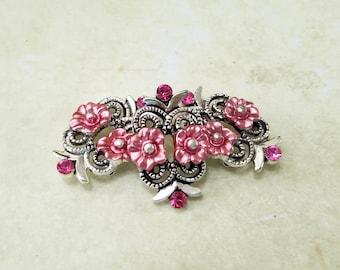 Swarovski, Crystal, Flower, Enamel, Slider, Spacer, Double Strand, Component, Connector, Bracelet, Rose, Pink, Jewelry, Beading, Supply