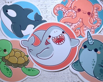 Kawaii Ocean Cutie Stickers ( cute chibi sticker shark turtle orca octopus narwhal )