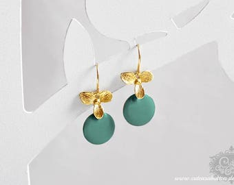 Ich bin Luxus - 'Emaille for YOU petit - petrol' orchid earrings