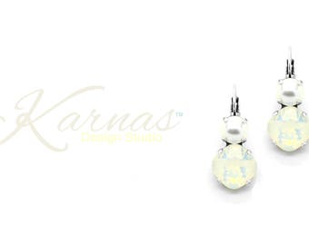 WHITE OPAL & PEARL 12mm/8mm Cushion Cut Earrings Made With Swarovski Crystal *Pick Your Finish *Karnas Design Studio *Free Shipping*