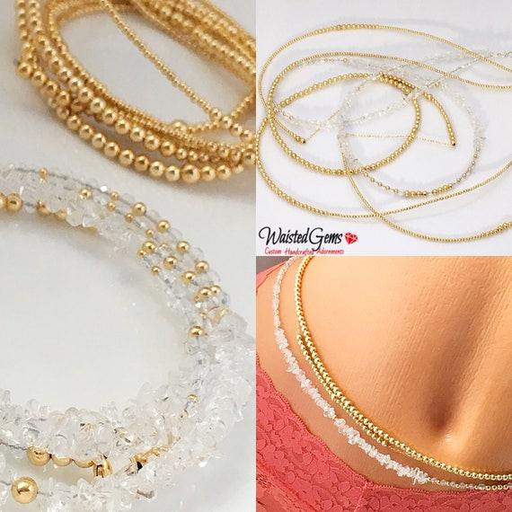 I'm Not For Everyone! 3pc 14k Gold Strand and Crystal Triple Waist Bead Set, Wedding Gift, Gold Waist bead, African Waist Beads,  zmw221