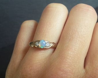 Twisted Opal & Diamond Ring