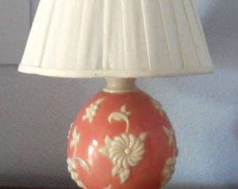 Vintage 1940's Table Lamp,  Rare Dark Pink Alacite Glass