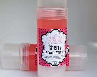 Cherry Soap Stick - Travel Soap - Soap On The Go - Soap In A Tube - Portable Soap - Soap To Go - Glycerin Soap - 3 Ounce Soap