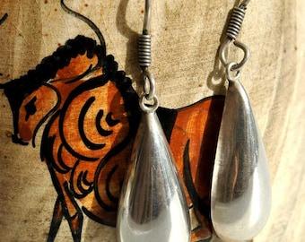 Vintage Mexican Sterling Silver Teardrop Dangle Drop Earrings
