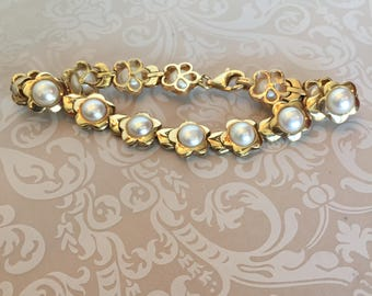 PEARL  14K Gold flower motif bracelet wears so  lovely on the wrist perfect for wedding and special gift
