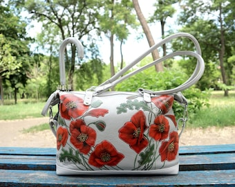 Leather bag painted poppies gray leather top handle bag Leather Tote applique painted purse leather shoulder bag unique bag gift for mom
