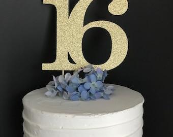 16 Cake Topper, Sweet Sixteen Cake Topper, Sweet 16 Cake Topper, 16th Birthday, Sixteenth Birthday,  16 Cake, Sixteenth