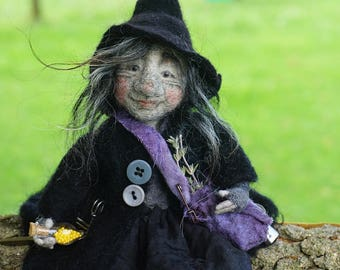 Trine, needle & wet felted ooak witch