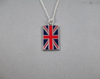 CLEARANCE - British Flag Charm Necklace - Union Jack - United Kingdom - Britain