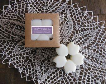 wax blossom watercress violet | scented wax melt botanical wax tart | natural soft floral & fresh green leaf fragrance