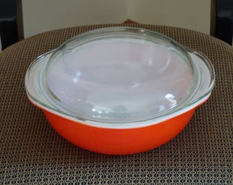Pyrex Two Quart Glass Bowl - Sunburst Orange with Clear Glass Top - Clean - Colorful and Practical - Mix and Match - Vintage Kitchen Bowl
