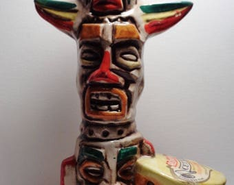 Vintage Scary Ceramic Totem Pole Decanter - 1950's Vintage - Creepy Characters - Vintage Wine Decanter - Made in Italy - Cetti Wine Bottle