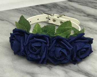 Medium Wedding Dog Collar Navy Flowers Leather Dog Collar for Pet Wedding Save the Date Engagement Photos