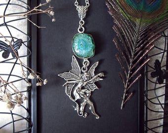 Fairy Necklace, Green Solar Quartz, Fantasy Pendant, Quartz Crystal Necklace, Enchanted Necklace, Fairy Collection