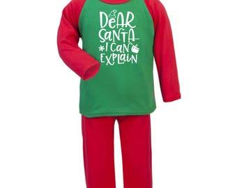 Christmas Pyjamas |  Dear Santa I Can Explain | Christmas PJS | Xmas Pyjamas | Xmas PJS | Boys | Girls | Toddler | Pyjamas | Xmas | Eve Box