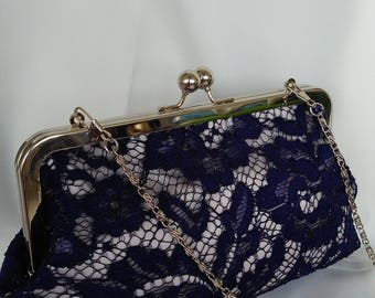 Navy blue  white silver blush floral lace wedding bridal evening prom BBsCustomClutches  summer clutch purse