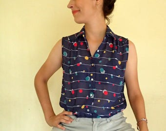 navy blue top /  sleeveless blouse / polka dot button up top / striped top / japanese vintage top