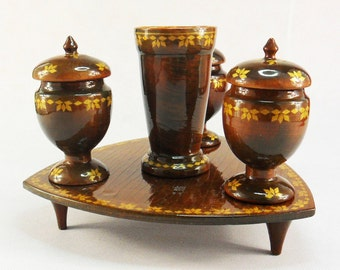 Vase And Saltcellars Wooden Table Decoration Set Glass And 3 Brown Vases On  Tray Decanter Wooden