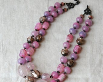 Vintage Lamp Work Glass Necklace, Venetian Glass, Pink, Aventurine, KC100