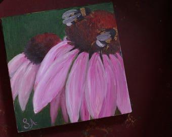 Echinacea Original Painting, Purple, Pink Coneflower, Original Oil Painting, Flower Painting, Original Artwork, Wall art, Bumble Bee