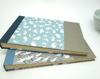 Album photo naissance mixte en papier japonais, lapin bleu gris - baptême, grossesse - idée cadeau bébé garçon ou fille, personnalisable