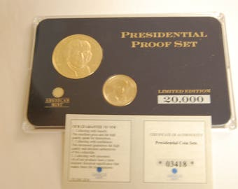 PRESIDENTIAL Proof Set-Numbered/Uncirculated/COA=Thomas Jefferson-24Kt Glod Plated Copper Coin