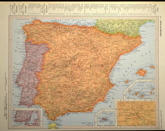 Spain Map Spain Vintage Wall Art Portugal Map Orange