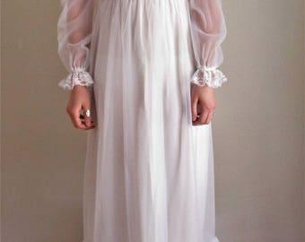 70s Vintage Wedding Dress Sheer High Neck Lace Long Sleeve Floor Length Bridal Gown
